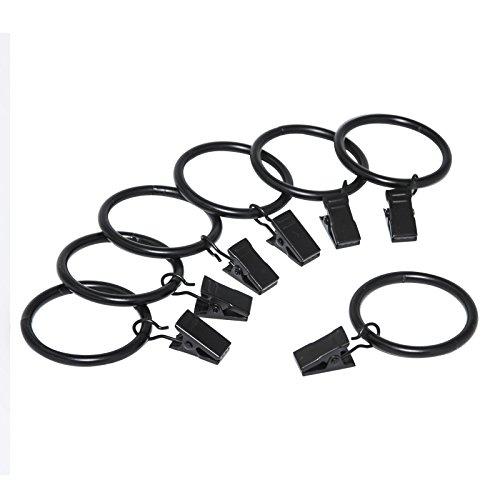 DDSKY Pack of 20 Rustproof Drapery Ring with Hook, Curtain Ring, Vintage Black,Stainless Steel Metal(1.5