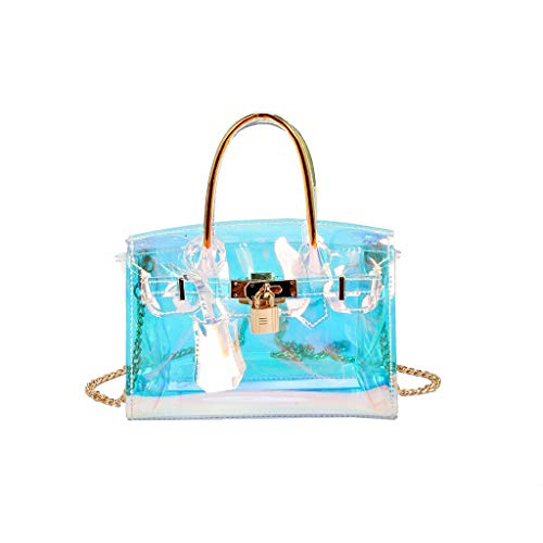 (Crossbody Shoulder Bag,AfterSo Fashion Women Sequins Wild Transparent Crossbody Bag Waterproof Chain Beach Bags (White))