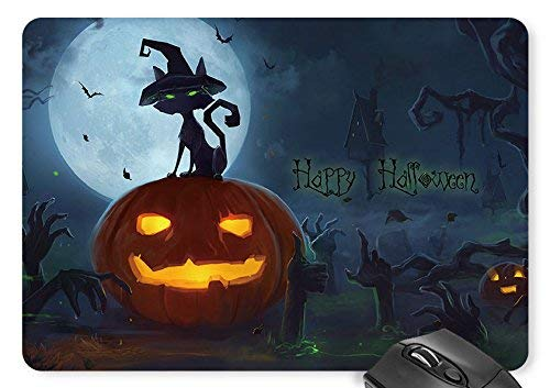 (BGLKCS Halloween Pumpkin Lights Black Cats Witch Hats Zombie Hands Moonlight Bats Dead Trees Mouse Pad 9.8×8.3 inches Game Mouse Mat)