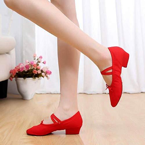 Danse De Doux Ballet Rouge Femme Chaussons Pointe mounter Chaussures Filles Pour Latin Yoga Danse Gym Toile Singles Demi Eu34~41 wp6q8xXnS