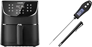 Cosori Air Fryer 5.8 QT and Meat Thermometer Black