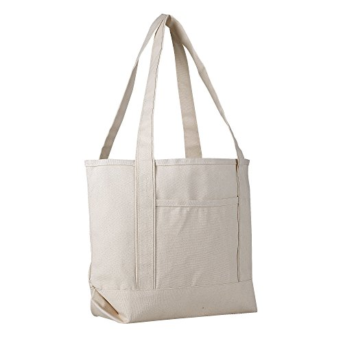 - Canvas Boat Tote Bag - 18 inch - Wide Heavy Duty Sturdy & Reusable with Inside Zipper Pocket Cotton Canvas Beach Weekender Travel Luggage Totes for Women, Men, Kids, Girls, Boys (Natural)