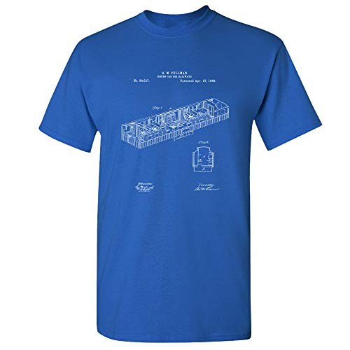 Pullman Train Dining Car 1869 T-Shirt, Train Shirt, Train Collector, Railroad Vintage, Train Dining Room, Railway Car Royal Blue (Large)