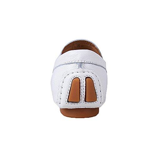 rismart Mens Slip on Casual Fashion Genuine Leather Loafers Shoes White1 SBpDUUhBH