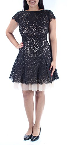 Tadashi Shoji 379 Womens New 1140 Black Beige Lace Fit + Flare Dress 12 B+B