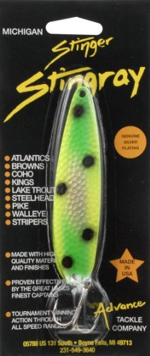 Advance Tackle Michigan Stinger Stingray Frog Circus Freak Green 3-Hook Fishing Lure, Green/Yellow
