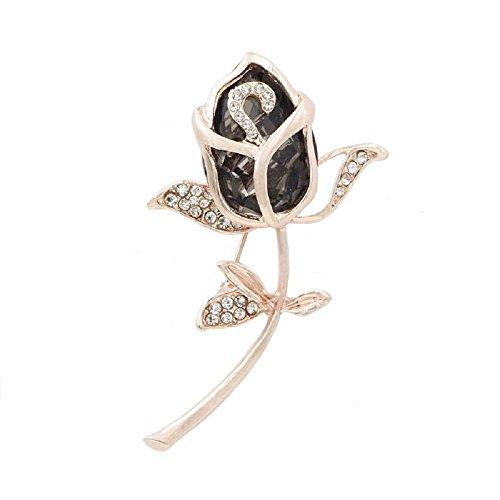 Wcysin 3D Rose Brooch Pins for Women Bouquet Flower Wedding Created Crystal Brooch (Black)