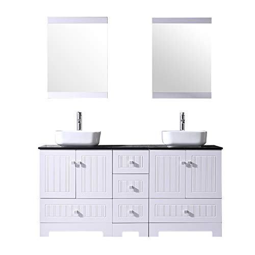 """BATHJOY 60"""" White Double Bathroom Vanity Cabinets and Ceramic Vessel Sink w/Mirror Combo Faucet"""