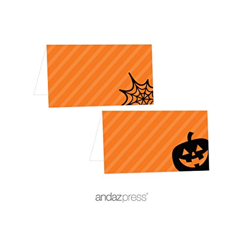- Andaz Press Classic Black and Orange Halloween Party Collection, Table Tent Place Cards, 20-Pack, Dessert Table Catering Buffet Food Station Decor Decorations Table Settings