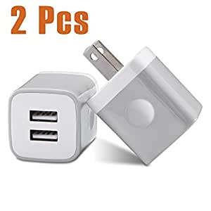 iPhone Wall Charger, USINFLY 2-Pack 2.1A/5V Universal Dual Port USB Wall Charger Plug Power Adapter Fast Charging Cube for iPhone 8 7 6 6S Plus 5S 5 SE 4S