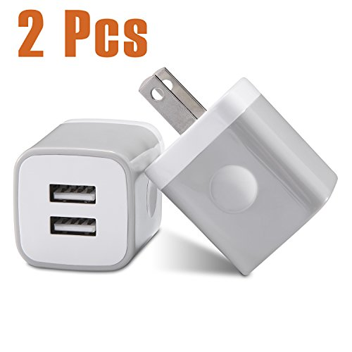 Cheap Wall Chargers USB Wall Charger, USINFLY 2-Pack 2.1A/5V Universal Dual Port USB Wall Charger..