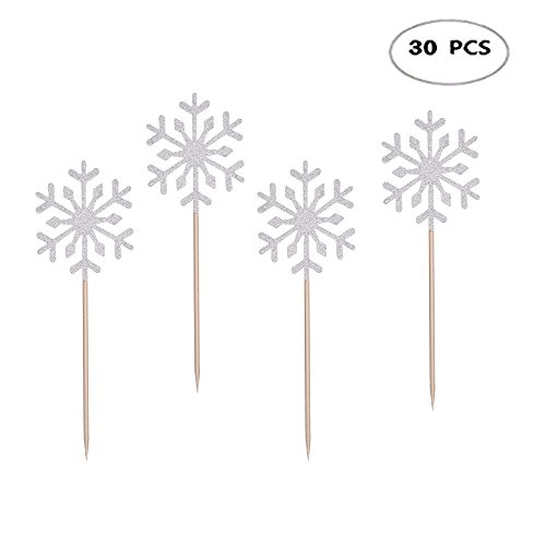 Snowflake Appetizer - 30Pcs Snowflake Cake Toppers Snowflake Cupcake Toppers Picks for Kids Birthday Party Christmas Themed Party Baby Shower Wedding Cake Decoration,Silver