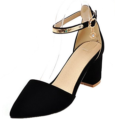 Frosted Buckle Sandals Toe Closed Heels Kitten CA18LB04194 Women's Black WeenFashion I7nwZqOx