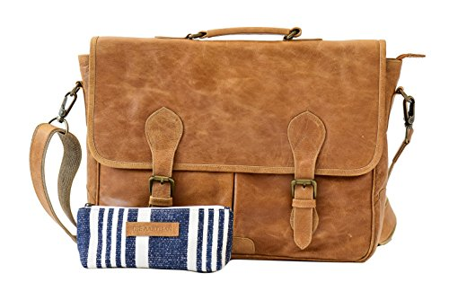 The Aartisan 16.5'' Vintage Pocketed Genuine Leather Messenger Laptop Briefcase (Chestnut) Shoulder Canvas Leather Satchel Bag Free Gift Included Multi Purpose Use by THE AARTISAN
