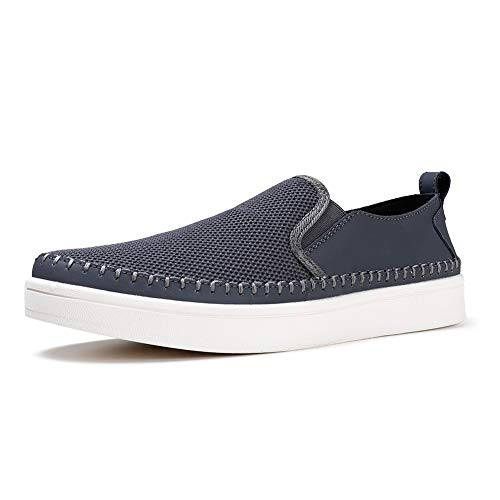 (Loafers Men Casual Cloth Leather Canvas Non Slip Leisure Vintage Flat Boat Shoes Grey, 10 M US)