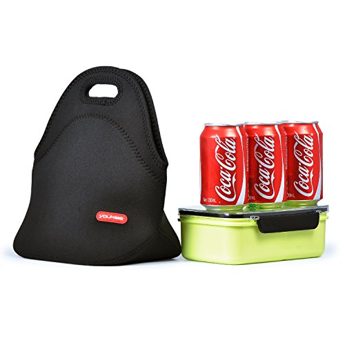 Neoprene Lunch Tote, Yookeehome Thick Insulated Thermal Lunch Bag Waterproof Outdoor Travel Picnic Carry Case Lunch Handbags Tote with Zipper, Black