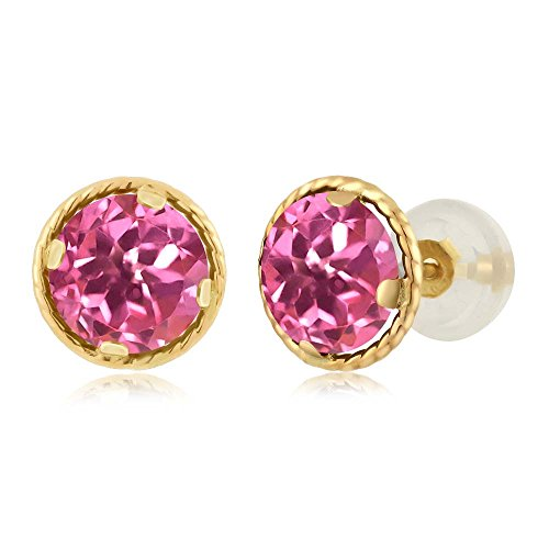 2.00 Ct Round 6mm Pink Mystic Topaz 14K Yellow Gold Stud Earrings (Gold Pink Topaz Earrings)