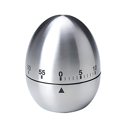KIKIGOAL Egg Shaped Stainless Steel 60-Minute Kitchen Timer (Egg Shaped Timer)