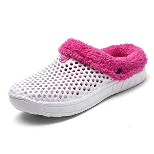 White Fur Mules On Clogs Men's Slip Slides Warm Lined Shoes Women Winter Garden Flip Flops QISHENG Slipper qSw8Ta4