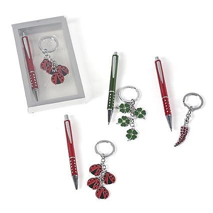 Set bolígrafo y llavero Chiles suerte en caja regalo: Amazon ...