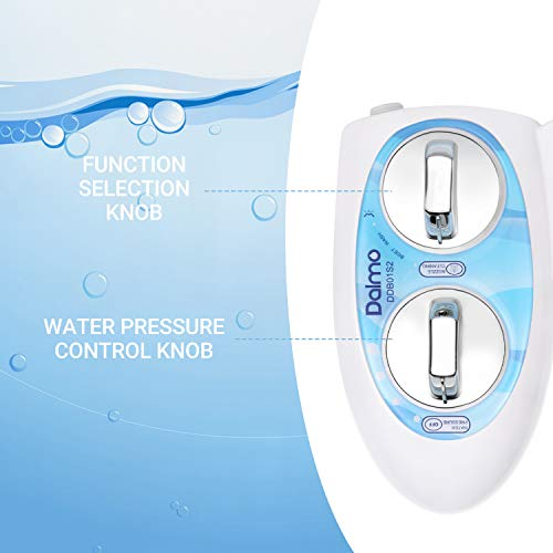 Bidet, Dalmo DDB01S2 Non-Electric Bidet Toilet Attachment with Self-Cleaning Nozzles, Fresh Water Bidet for Toilet with Adjustable Water Spray Pressure for Quick and Easy Installation (Blue & White)