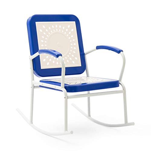 Retro Vintage Style Blue White Metal Patio Rocking Chair Porch Rocker Outdoor - Vintage Metal Furniture Outdoor