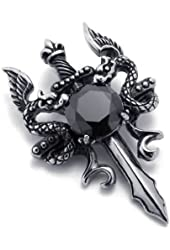 KONOV Stainless Steel Double Dragon Cross Sword Pendant Mens Necklace, 24 inch Chain