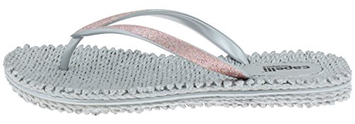 New York Flops Silver Fine Capelli Trim Flip Fashion Ladies Glitter RddwF