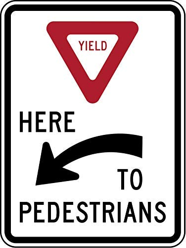 TAN550 R1-5a: Yield Here to Pedestrians Sign, Metal Wanring Signs Private Property,Danger Safety Sign Plaque,Gate Sign,8