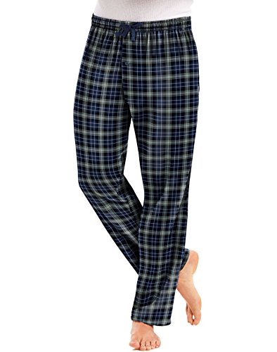 Hanes Men`s Flannel Pants with Comfort Flex Waistband L Blue/Black Tartan❗️Ships Directly from