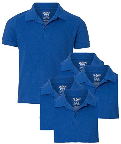 Gildan Youth School Uniform Double Pique Polo Shirt, Royal, XL ( Pack of 5 ) - Sleeve Youth Pique Polo