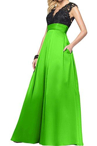 Abendmode Grün Ballkleider V Spitze Linie Romantisch Satin Promkleider A Neck Ivydressing XTRUwqxfg