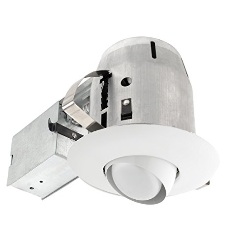 Globe Electric 9255001 5 inch Recessed Lighting Kit, Regressed Eye Ball Swivel, White Finish, Flood Light