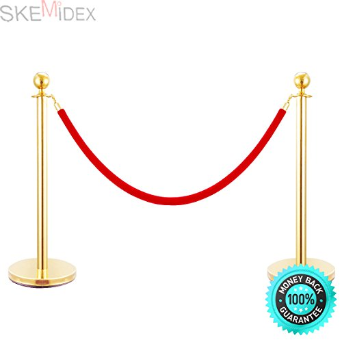 SKEMiDEX---6 PCS Velvet Rope Stanchion Gold Post Crowd Control Queue Line Barrier. Sturdy bases with stainless steel plates provides additional stability Easy assembly no special tools needed by SKEMiDEX