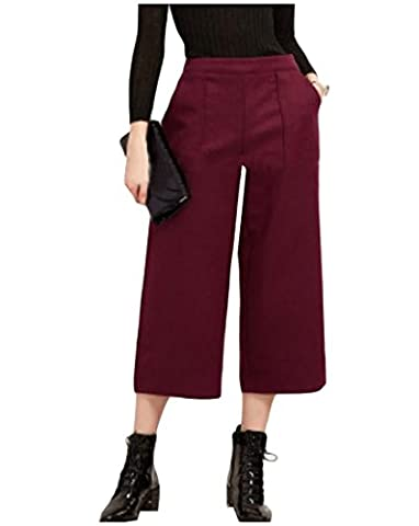 Coolred Women's Soft Chic Solid Color Smocked Waist Wide Leg Pants Wine Red M - Smocked Waist Silk Blouse