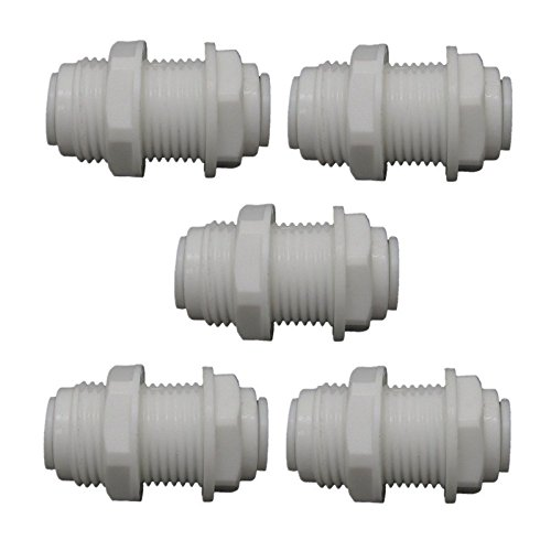JIUWU White Fittings Bulkhead Connector 3/8-Inch Tube Quick Connect for RO Water Pack of 5