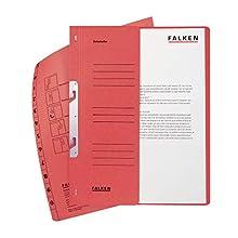 FALKEN – Clasificadora reciclado 1/2 tapa delantera para DIN A4, Autoridad 2 pliegues, 50 unidades, color rojo