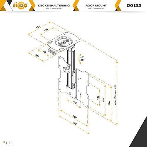 RICOO D0122 Hinged TV cket Ceiling Mount Universal ... on