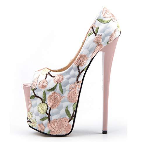 Un Ricamo Alto amp; Donna Peep Piattaforma Toe Primavera Mesh Autunno Yan Tacchi Stiletto Moda Eleganti Scarpe Tacco Pompe wgzqXT7
