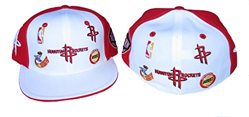 Houston Rockets LOGO PLUS Fitted Size 7 1/2 Hardwood Classics Hat Cap - Red & White