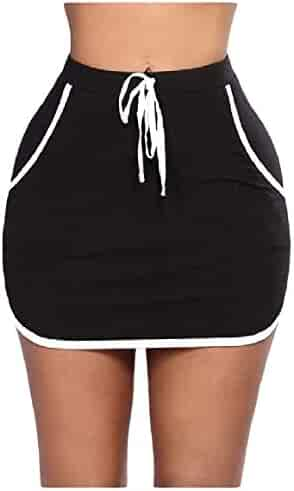 d39e6943cb5766 RingBongWomen Pockets Elastic Waist Stripes Stitch Strappy Skinny Short  Skirt