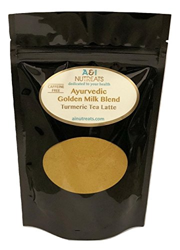Ayurvedic Organic Golden Milk blend with no added sugar or sweetener; Turmeric, Ceylon Cinnamon, Ginger and Black Pepper; Anti-Inflammatory - Best for organic vegan latte recipe (5 oz, 120 cups) Anti Ginger