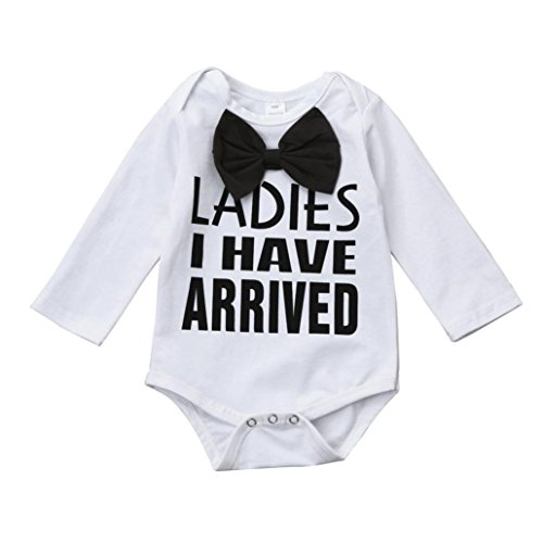 Baby Letter Bowknot Print Top Clothes Rompers Bodysuit (White) - 6