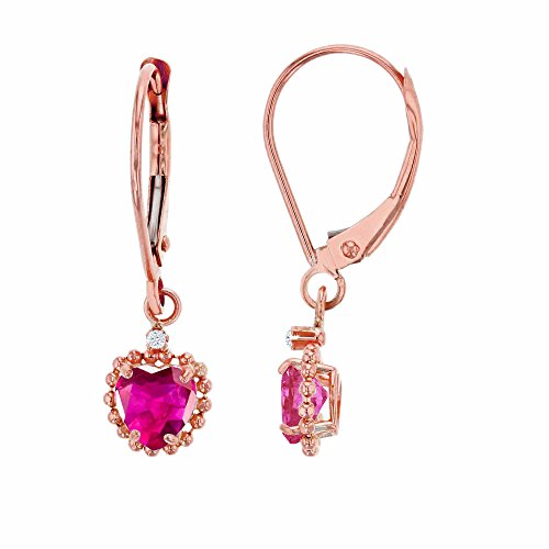 10K Rose Gold 1.25mm Round White Topaz & 5mm Heart Created Ruby Bead Frame Drop Leverback Earring