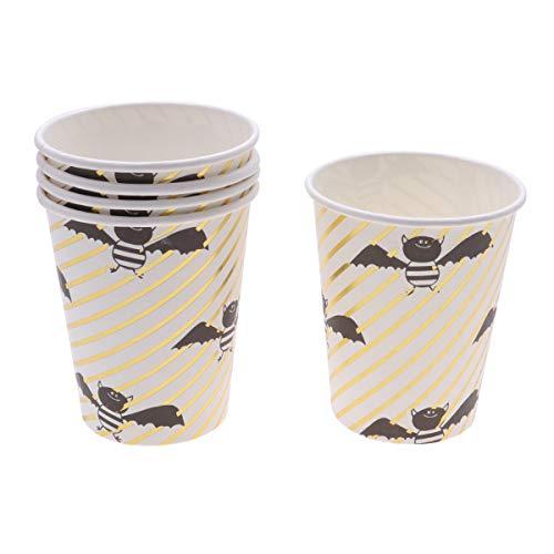 10PCS Halloween Disposable Golden Stripe Cups Set Cute Bat Pattern Paper Tableware Party Supplies for Festival