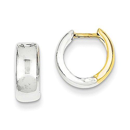 Tiny Two Tone 14K Gold Wide Hinged Huggie Hoop Earrings.40 In (10mm) (5mm Wide)