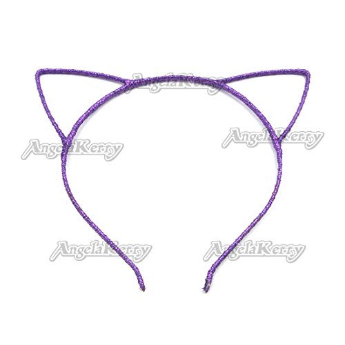 AngelaKerry 20pcs Dark Purple Cat Ear Girl Metal Satin Ribbon Headbands Hairbands Bow for Girl's Fashion Party DIY (Dark Purple, Pack of 20pcs)