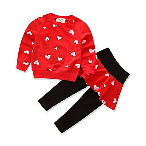Little Girls' Kids 2 Pieces Long Sleeve Top Pants Tutu Leggings Dress Clothes Set Outfits (3-4 Year, Red) for $<!--$13.89-->