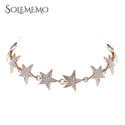 [Solememo Women's Fashion Jewelry Rhinestone Star Choker Necklace] (18th Century Costumes Uk)
