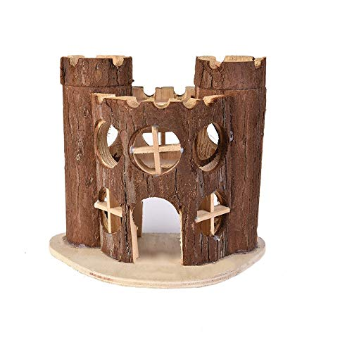 Hamster Wooden House Small Animals Hideout Hut for Dwarf Hamster Cage Sleeping Cabin (A: Castle House)